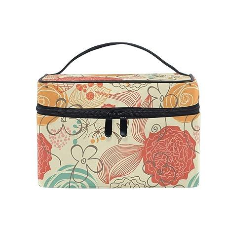 Bolsa de maquillaje, diseño floral, estuche organizador de ...