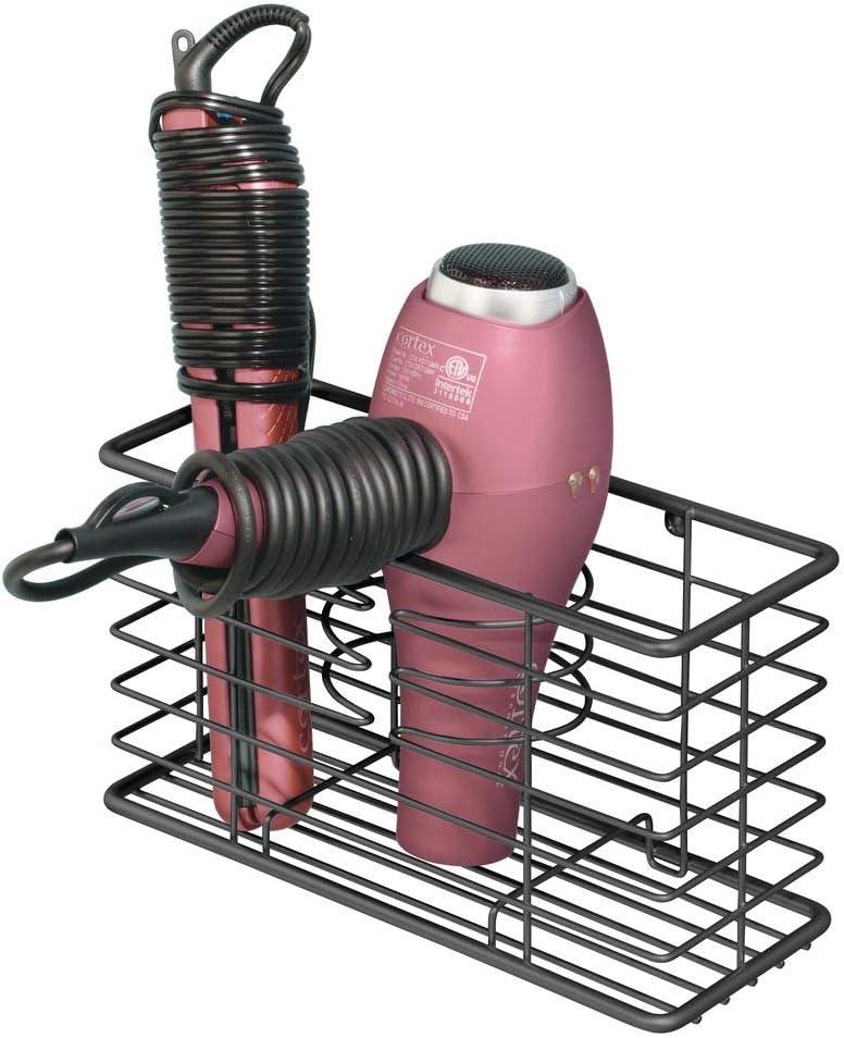 piastra e spazzole Comodo cestello portaoggetti bagno per phon Porta phon multiuso a 3 scomparti rosa chiaro mDesign Porta asciugacapelli da parete