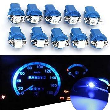 MNEFEL 10pcs B8.3D-5050-1 Bombillas LED de Coche Luces de Instrumento Interior salpicadero Placa de matrícula Luces Laterales Azul Azul: Amazon.es: ...