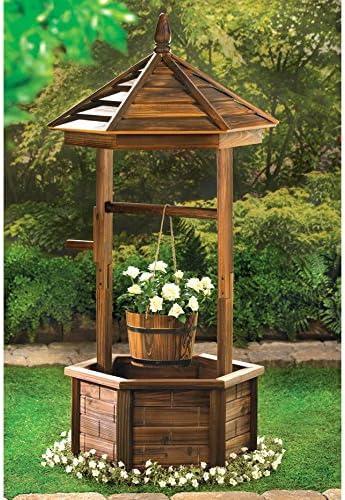 Gazebo en madera rústica Wishing Well maceta de jardín al aire libre Patio Patio Gazebo macetero: Amazon.es: Jardín