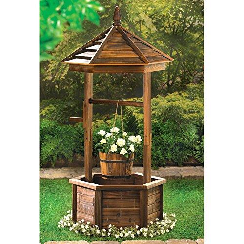 Discount K 14652 Wood Garden Outdoor Yard Patio Gazebo Rustic Wishing Well Planter, Multicolor