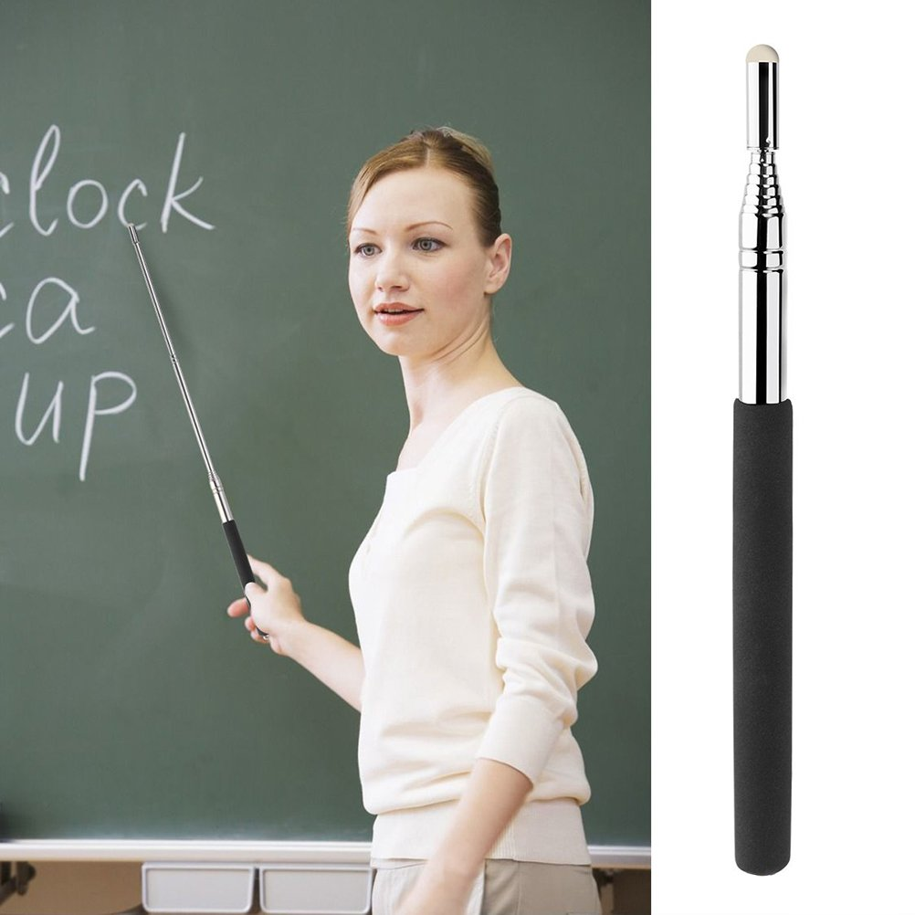 CosCosX 2 Pcs Telescopic Teachers Pointer Stick,Teaching Pointer,Extendable Retractable Hand Pointers Handheld Presenter Classroom Whiteboard Pointer,Black