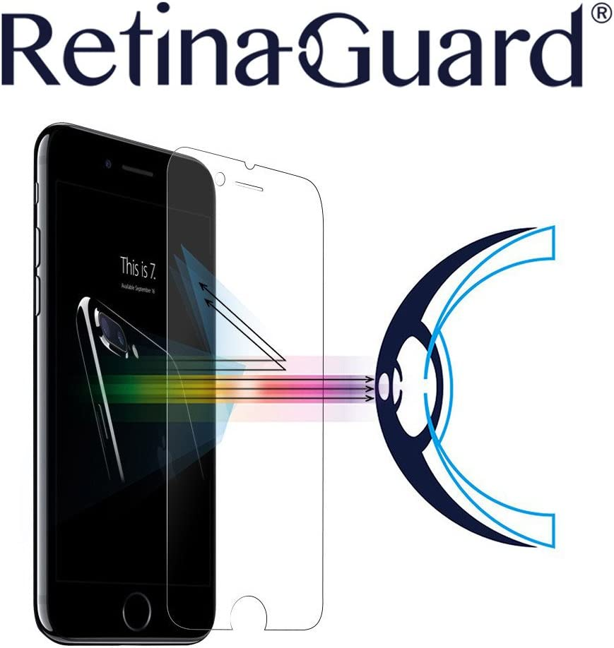 RetinaGuard iPhone 7 Plus Anti Blue Light Tempered Glass Screen Protector (Transparent), SGS and Intertek Tested, Blocks Excessive Harmful Blue Light, Reduce Eye Fatigue and Eye Strain