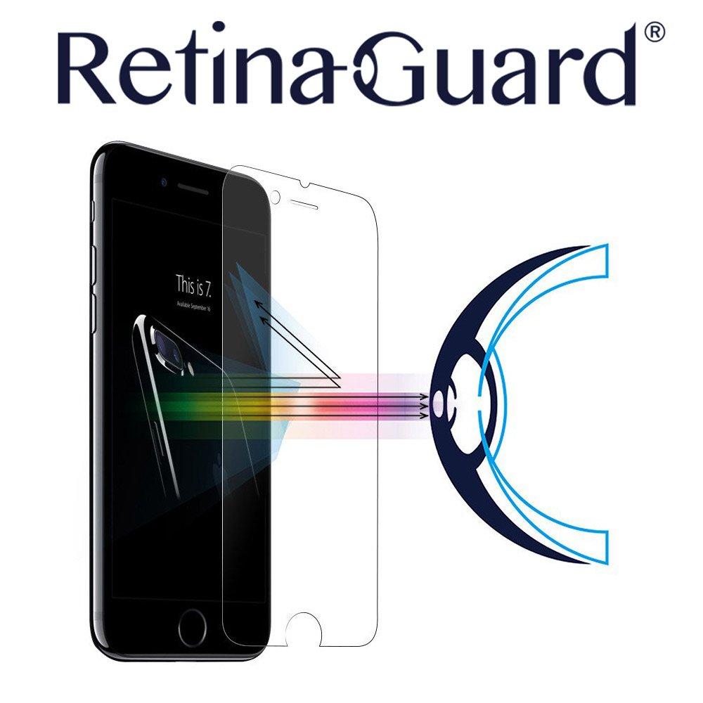 Protector de pantalla de vidrio templado RetinaGuard para iphone 7/7Plus; con certificación de SGS e Intertek; excesiva luz azul, reducir la fatiga ocular y ...