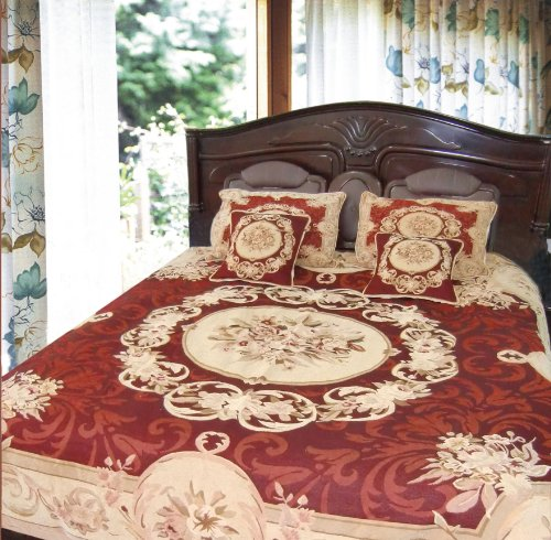 DaDa Bedding 12JPG 3-Piece Elegant Chenille Woven Floral Medallion Bedspread, Twin, Red