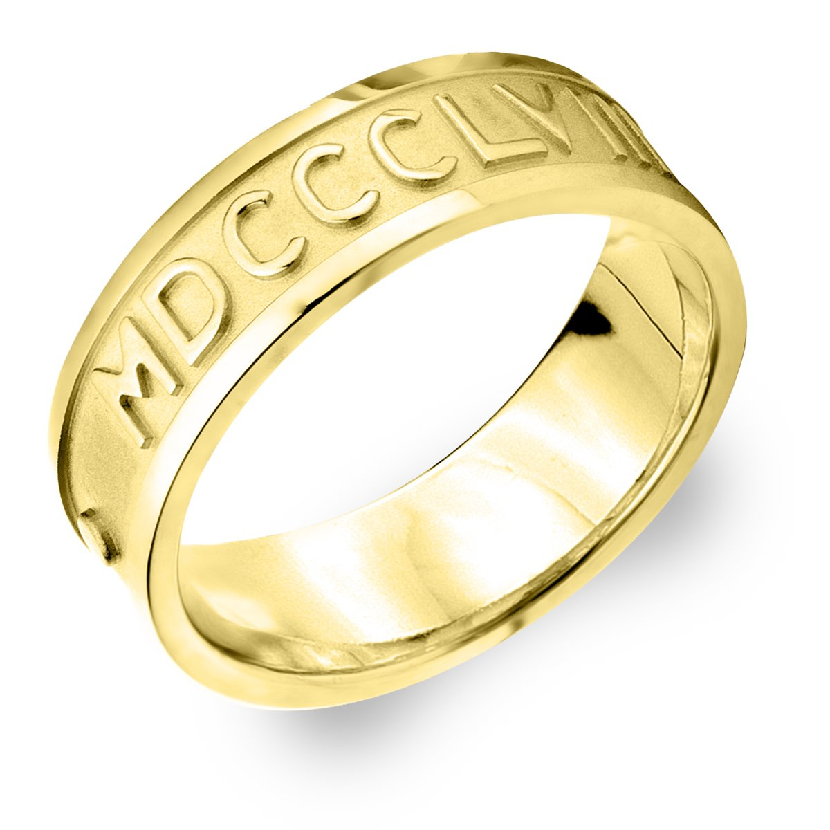 1bad72a9f Amazon.com: 14K Yellow Gold Women's Roman Numeral Ring Customized With Your  Date: Jewelry