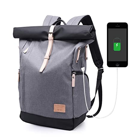Rucksack Damen Herren Roll Top Rucksack Laptop Schultasche Uni Wasserabweisend Rucksack