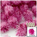 The Crafts Outlet Chenille Sparkly Pom Poms, Pink porcupine, 1.0-inch (25-mm), 1000-pc, Pink