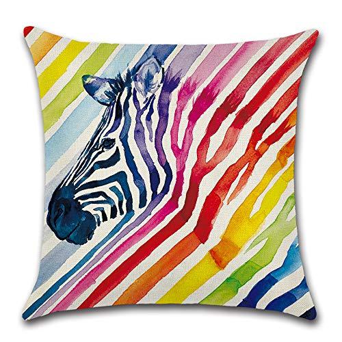 Textong Flax Linen Healthy Hand-Painted Cotton Rainbow Animal Zebra Elephant Unicorn Wolf Bird Pillow Cases 18x18 (Zebra) -