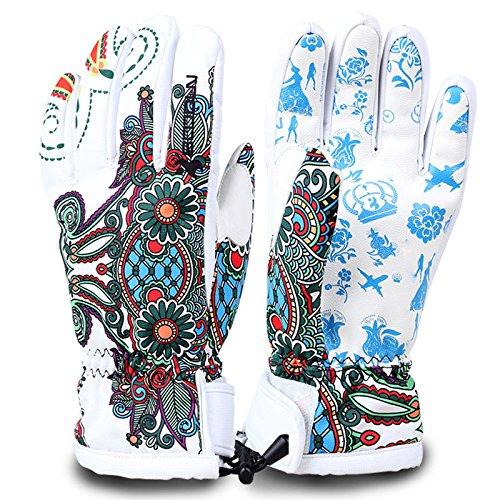 Cycling Ski Gloves Waterproof Windproof Winter Warm PU Leather Women Men Full Finger Gloves for Running Jogging Bike Motorcycle Skate Skateboard Roller Skating Skiing Snowboard (White, S)