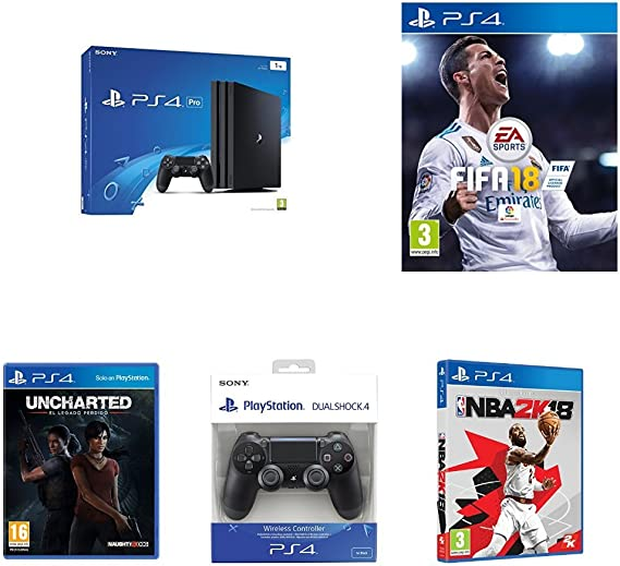 PlayStation 4 Pro (PS4) - Consola, Color Negro + FIFA 18 - Edición estándar + NBA 2k18 + Sony - Dualshock 4 V2 Mando Inalámbrico, Color Negro V2 (PS4) + Uncharted: El Legado Perdido: Amazon.es: Videojuegos