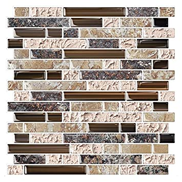 STICKGOO Anti-Mold Peel and Stick Wall Tile, Self-Adhesive Kitchen Backsplash in Sandstone Pack of 10, Thicker Design