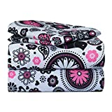 Dor Extreme Super Soft Luxury Twin Pink and Black Floral Bed Sheet Set in 8 Different Prints, Pop of Floral Pink, 3 Piece