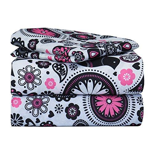 Dor Extreme Super Soft Luxury Twin Pink and Black Floral Bed Sheet Set in 8 Different Prints, Pop of Floral Pink, 3 Piece (Floral Bed Sets)