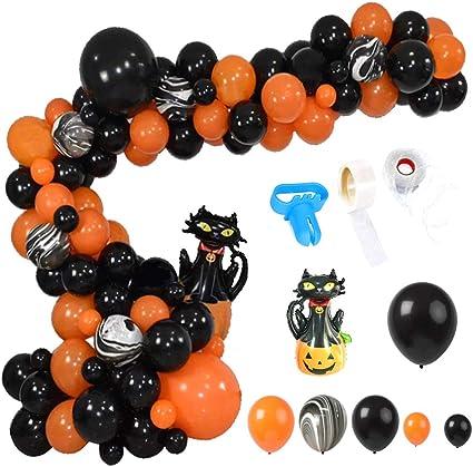 ATopoler 80PCS Halloween Balloons Arch Garland Kit,Classic Black Orange with Pumpkin Cat Balloon for Graduation Wedding Birthday Halloween Party Decorations