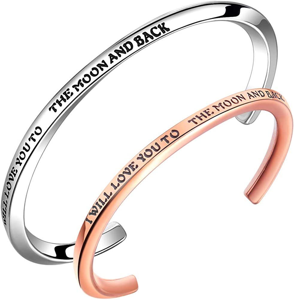 Gold Rose Gold /& Size Stainless Steel Personalised Hand Stamped Bangle Silver