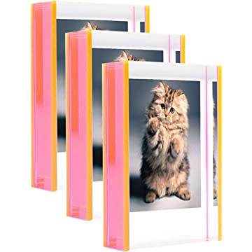 WINKINE Acrylic Photo Picture Frame 2x3, 3 Pack Clear Freestanding Thick Desk Tabletop Office Picture Display for Wedding, Family, Friends, Kid, Baby, Dog, Cat