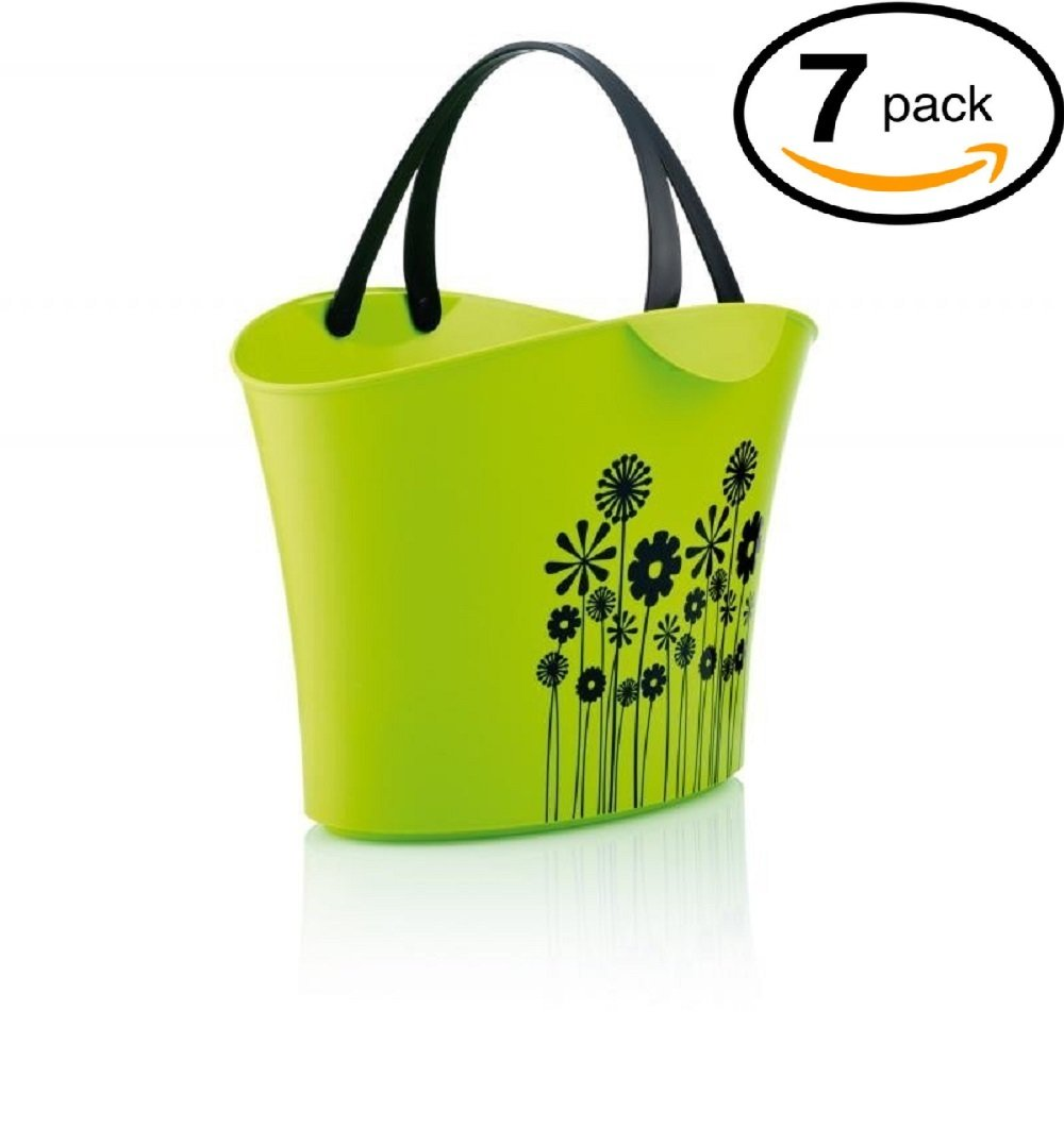 Shopping Basket - Modern - with 2 Handles - for Cosmetic Shops - Boutique Shops - Wine Stores - Gift Shops - Reusable Bag - Pack of 7 - Green