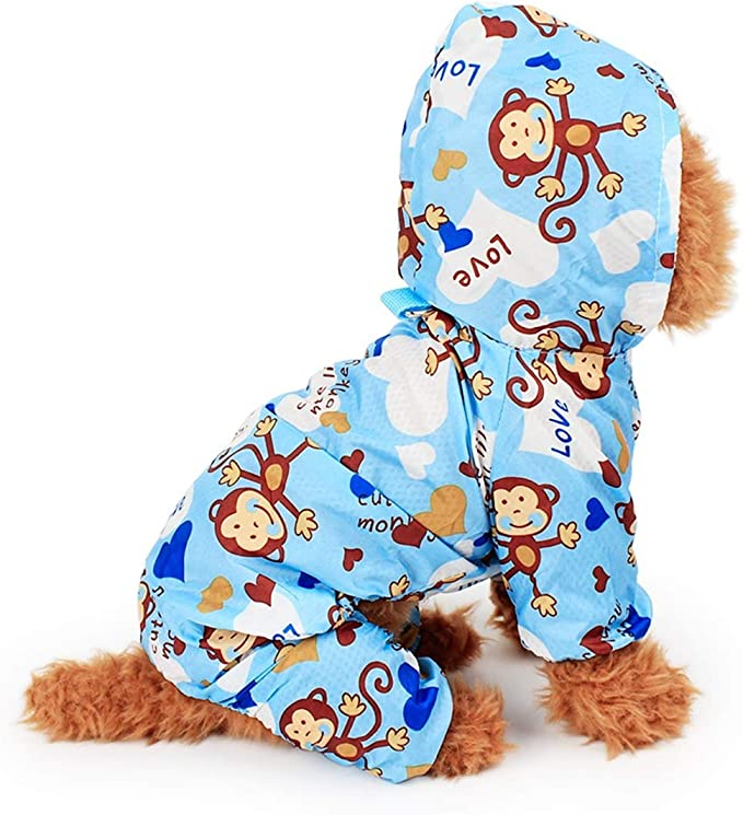 Color : Rosado, Size : S KAILLEET Impermeable Traje de Perrito de la Historieta de la impresi/ón de la Historieta Impermeable con Capucha Lindo de la Mascota