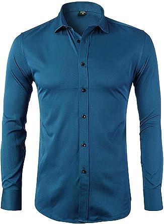 Hombre Básico Camisas Manga Larga Slim Fit Entallada Formales Casual Entallada con Cuello Camisas: Amazon.es: Ropa y accesorios