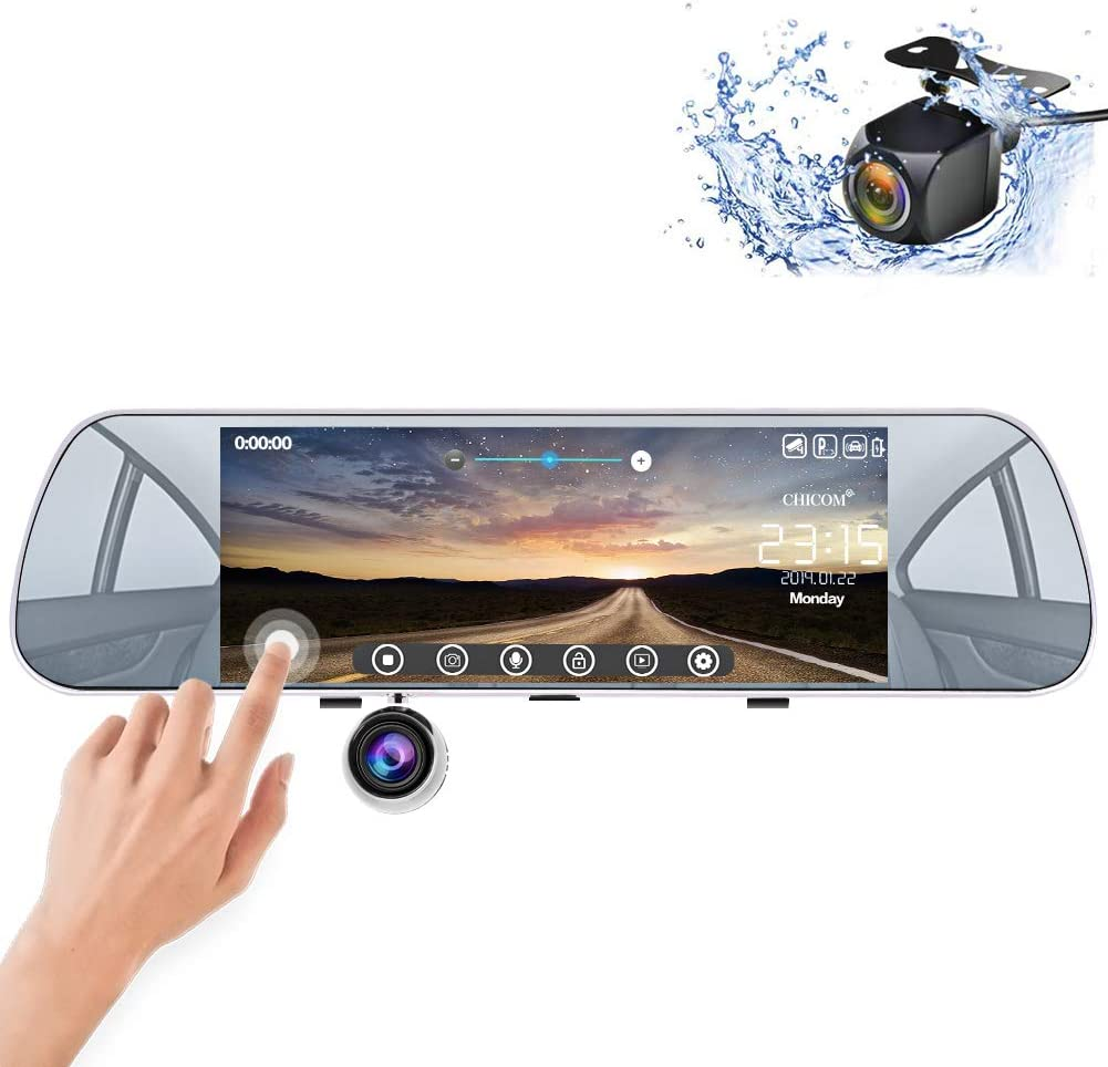 Mirror Dash Cam Backup Camera 7 Dashboard Camera Touch Screen 1080P Front /& 720P Rear Waterproof Reversing Camera