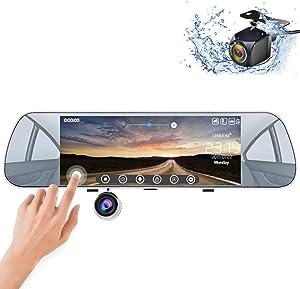"Mirror Dash Cam, Backup Camera 7"" Dashboard Camera Touch Screen 1080P Front & 720P Rear Waterproof Reversing Camera"