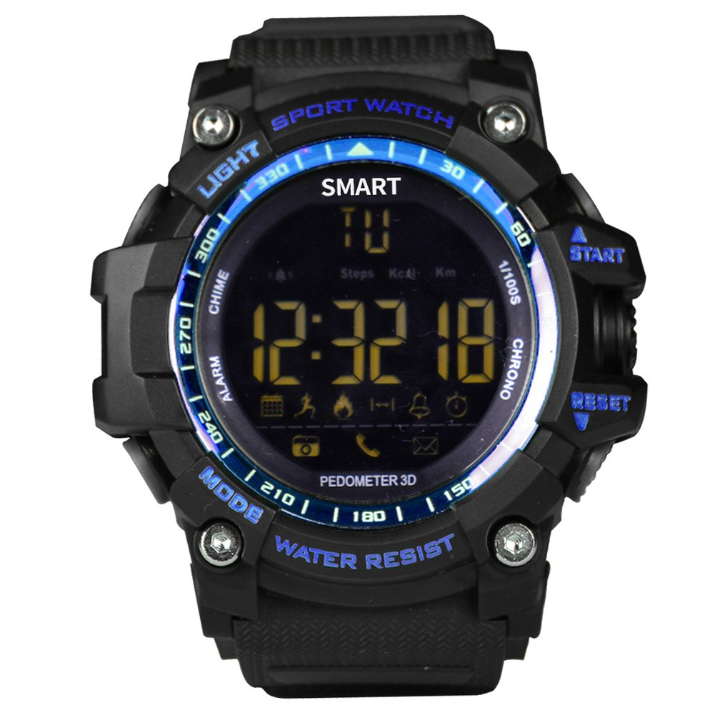 Smart Watch EUTUKEY Men Bluetooth Outdoor Sport Watch Fitness Tracker IP67 Waterproof Remote Camera Smart Band for Android with Android iOS,12 Months Standby Time(Blue) by EUTUKEY