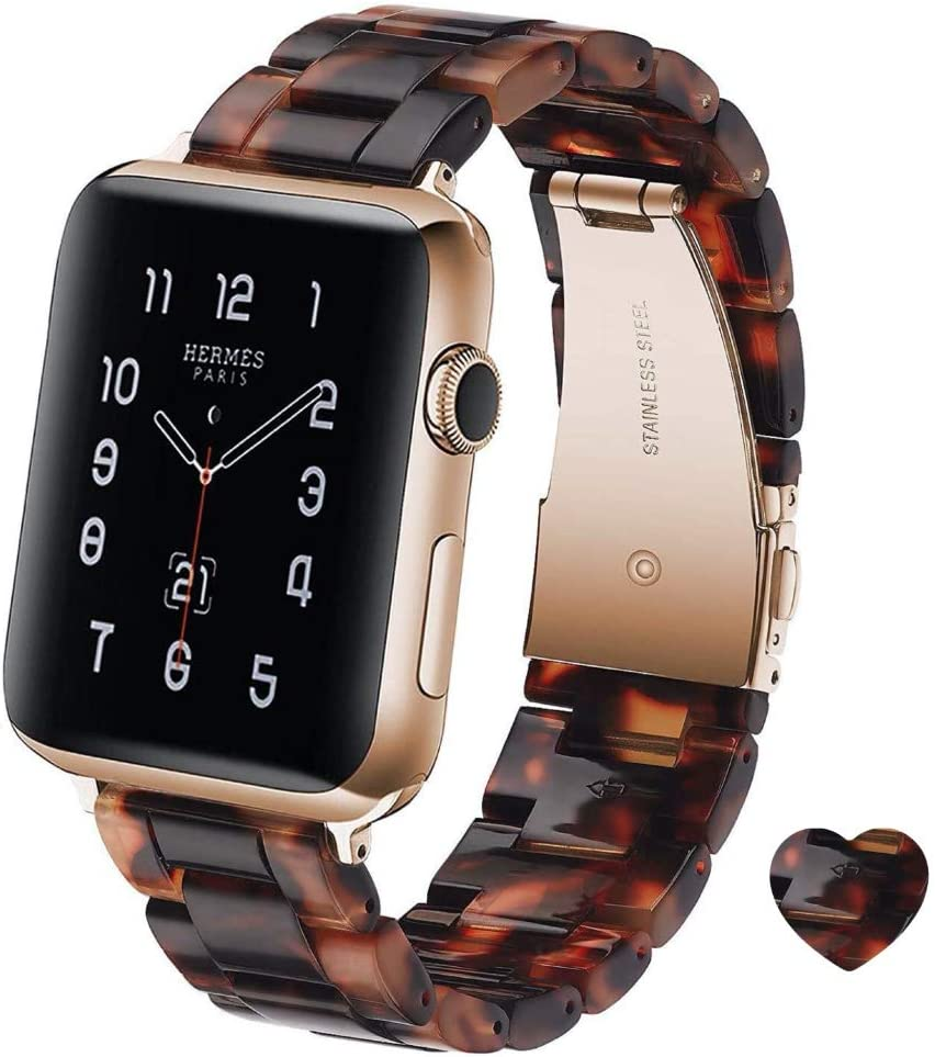 KAIMENG Resin Strap Compatible with Apple Watch Band 38mm /40mm 42mm/44mm Series 5/4/3/2/1 Women Men with Stainless Steel Buckle, Apple Watch Replacement Wristband Strap (Tortoise-Tone, 42mm/44mm)
