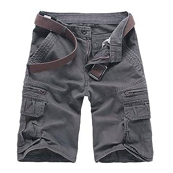 Hombres Camo Militar Estilo Carga Pantalones Cortos Multi-Bolsillo Bermuda Cargo Shorts De Trabajo Gris 36 ANdOH