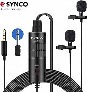 Microfono Solapa Doble, SYNCO S6D Microfono Lavalier Condensador ...
