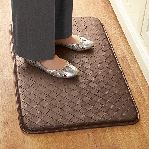 [해외]컬렉션 등등 내구성이 강한 스키드 방지 매트, 브라운을 위해 쿠션 처리 된 인조 가죽 피로 방지 피로/Collections Etc Faux Leather Anti-fatigue Cushioned for Comfort Durable Skid-Resistant Mat, Brown