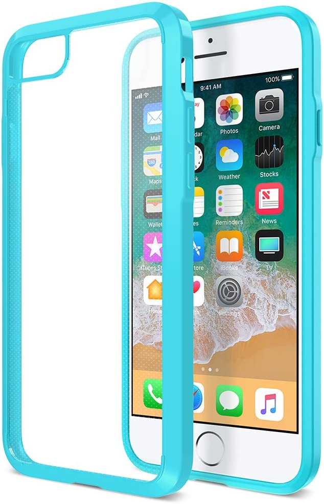 Trianium [Clarium Series] Protective Cover for Apple iPhone 7 8 Case [Shock Absorption] Reinforced Corner TPU Bumper Cushion + Scratch Resistant Hybrid Rigid Back - Clear Turquoise