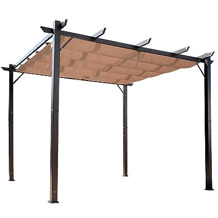 Outsunny 10' x 10' Steel Outdoor Pergola Gazebo Backyard Canopy Cover