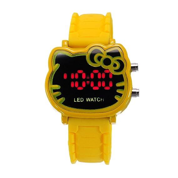 Nueva pantalla táctil pantalla Digital banda de silicona deportes LED reloj pulsera (amarillo)
