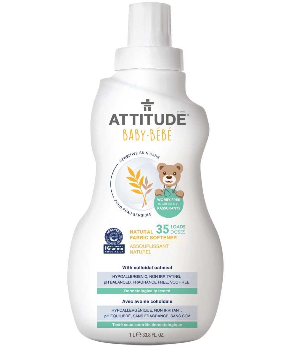 ATTITUDE Sensitive Skin, Hypoallergenic Baby Fabric Softener, Fragrance Free, 33.8 Fluid Ounce