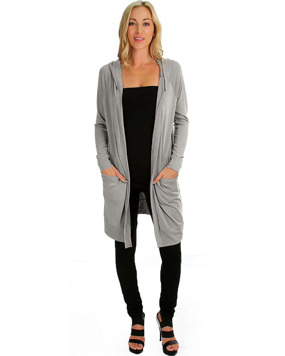 Amazon.com: Lyss Loo Women's Cover Me Up Long-line Hooded Cardigan ...