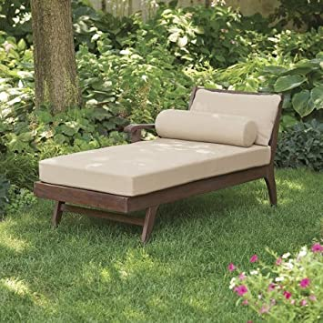 Better Homes And Gardens Cawood Place Chaise Lounge, Natural Cushion,  Expresso