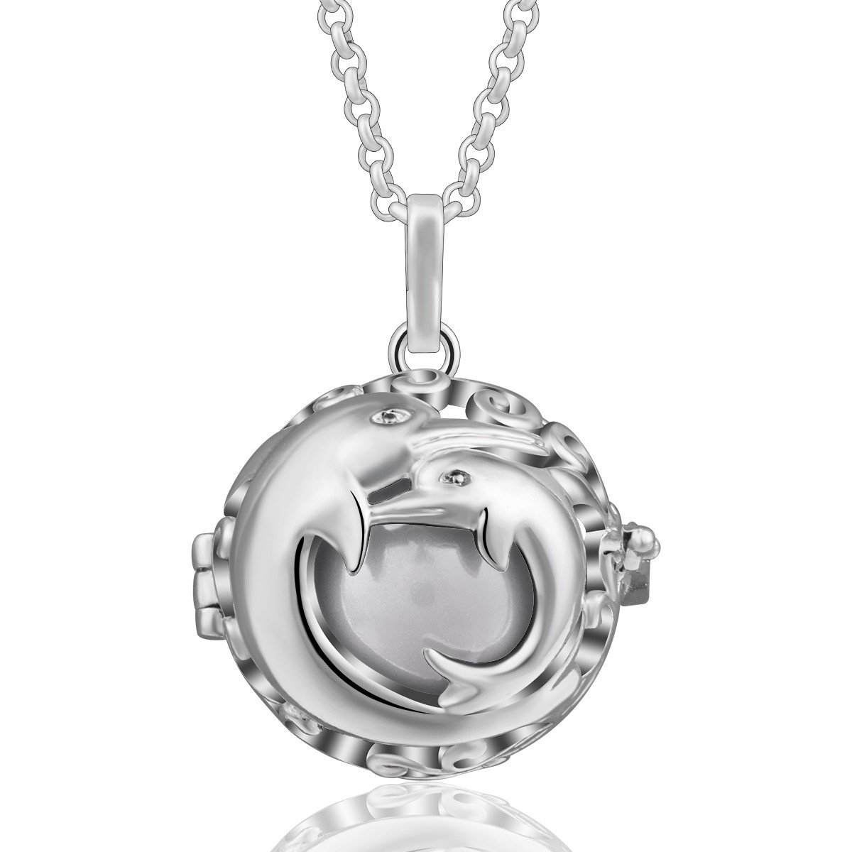 EUDORA Harmony Bola Necklace Cute Dolphins Music Chime Pendant Pregnancy Wishing Ball, 30'' Chain White