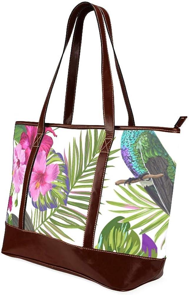 Tote Bags Tropical Seamless Pattern Hummingbirds Flowers Vector Travel Totes Bag Fashion Handbags Shopping Zippered Tote For Women Waterproof Handb