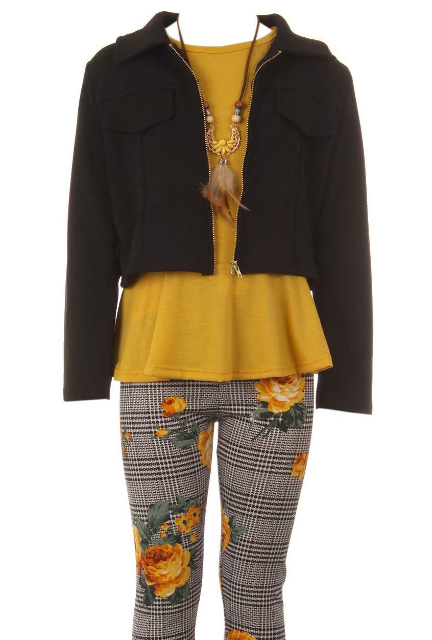 Little Girl Jackets Necklace Shirt Tank Pant Legging Girls 4 Pieces Clothing Set