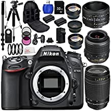 Nikon D7100 Digital SLR Camera With AF-S DX NIKKOR 18-55mm 1:3.5-5.6G VR, 70-300mm f/4-5.6G & 50mm f/1.8D Lenses. Includes: Wide Angle & Telephoto Lens, 3 Piece Filter Kit (UV-CPL-FLD), 4 Piece Macro Filter Set (+1,+2,+4,+10) & Much More