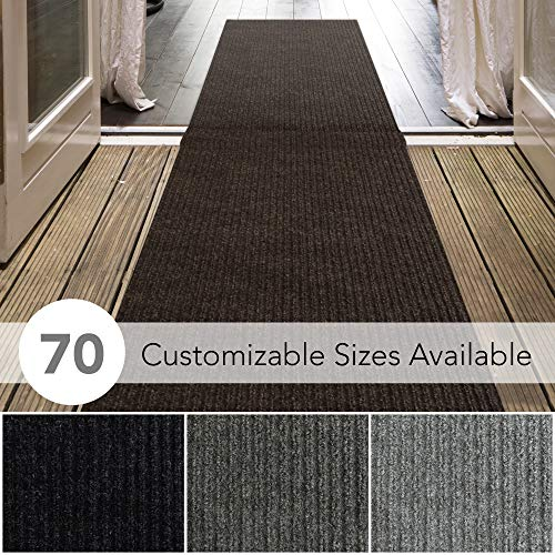 6' X 9' Runner - iCustomRug Spartan Weather Warrior Duty Indoor/Outdoor Utility Ribbed in 3ft,4ft,6ft Widths 70 Custom Sizes with Natural Non-Slip Rubber Backing 3' x 9' in Brown