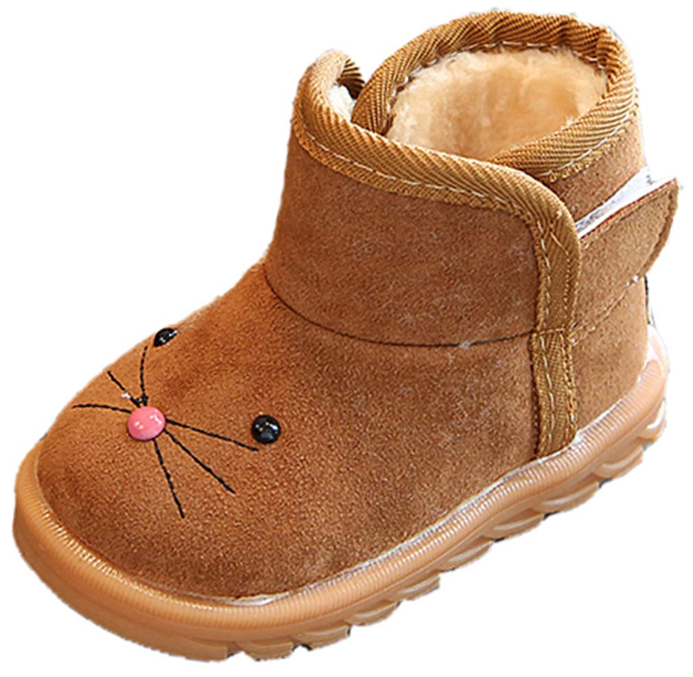VECJUNIA Boy's Girl's Cartoon Suede Ankle High Snow Boots Cold Weather Winter (Brown, 10 M US Toddler)