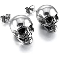 Minimalist Punk Skull Vintage Gothic Small Stud Earrings for Men Teens Personalized Hip Hop 316 Stainless Steel Chunky…