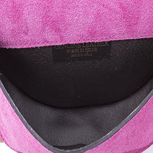 In bolso Cm rosa Genuino Auténtica Firenze bandolera color Italy Artegiani Anilla Fucsia 21x14x6 Mujer vera cartera Gamuza Aleación Diseño Exclusivo De Italiana Lujo Cuero Pelle Piel made Mano qSzUqwx