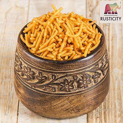Rusticity Wood Serving Bowl - Small Carved | Mango Wood | Handmade |(4in) (Rustic Carved Wood)
