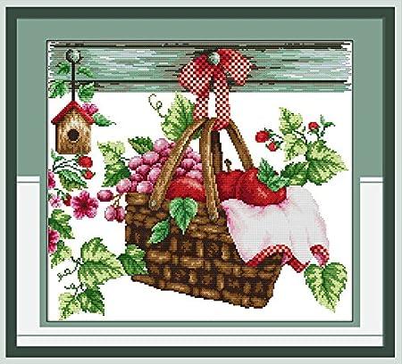 40 x 47cm Chreey Kit de Punto de Cruz Cesta de Frutas