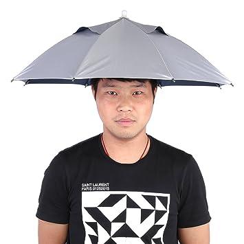 Aramox Paraguas Sombrero Sol Lluvia Sombreros Paraguas Sombrero al Aire Libre para la protección UV melocotón