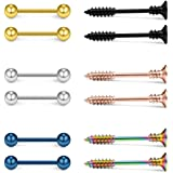 Ruifan 316L Stainless Steel Screw Bar Nipple Barbell Ring Body Piercing 14G 2-12PCS