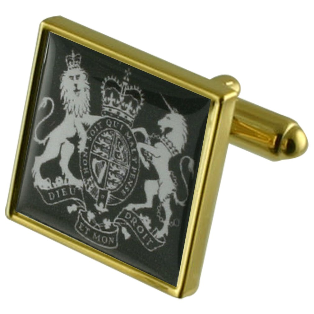 Select Gifts United Kingdom Coat Arms Gold-Tone Square Cufflinks with Engraved Personalised Case